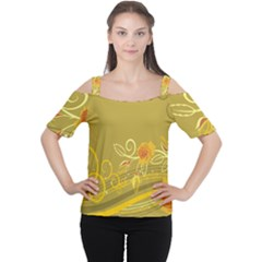 Flower Floral Yellow Sunflower Star Leaf Line Gold Cutout Shoulder Tee
