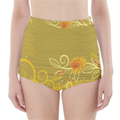 Flower Floral Yellow Sunflower Star Leaf Line Gold High Waisted Bikini Bottoms