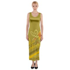 Flower Floral Yellow Sunflower Star Leaf Line Gold Fitted Maxi Dress