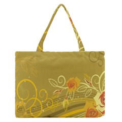 Flower Floral Yellow Sunflower Star Leaf Line Gold Zipper Medium Tote Bag