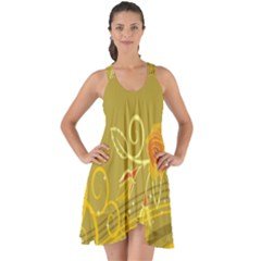 Flower Floral Yellow Sunflower Star Leaf Line Gold Show Some Back Chiffon Dress