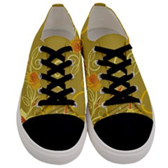 Flower Floral Yellow Sunflower Star Leaf Line Gold Men s Low Top Canvas Sneakers