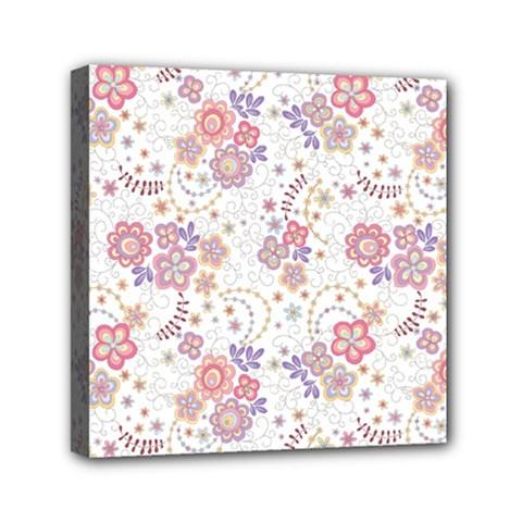 Flower Floral Sunflower Rose Purple Red Star Mini Canvas 6  X 6