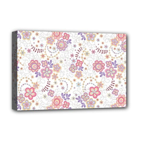 Flower Floral Sunflower Rose Purple Red Star Deluxe Canvas 18  X 12
