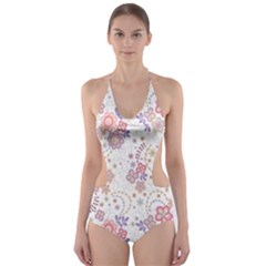 Flower Floral Sunflower Rose Purple Red Star Cut Out One Piece Swimsuit