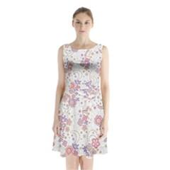 Flower Floral Sunflower Rose Purple Red Star Sleeveless Waist Tie Chiffon Dress