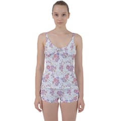 Flower Floral Sunflower Rose Purple Red Star Tie Front Two Piece Tankini
