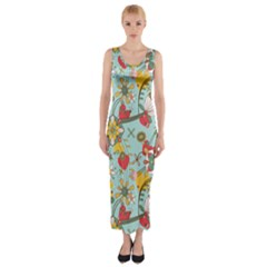 Flower Fruit Star Polka Rainbow Rose Fitted Maxi Dress