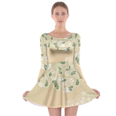 Flower Frame Green Sexy Long Sleeve Skater Dress