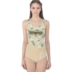 Flower Frame Green Sexy One Piece Swimsuit