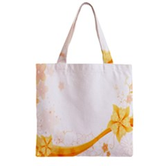 Flower Floral Yellow Sunflower Star Leaf Line Zipper Grocery Tote Bag