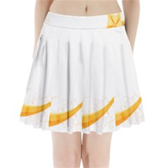 Flower Floral Yellow Sunflower Star Leaf Line Pleated Mini Skirt