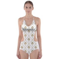 Flower Leaf Gold Cut Out One Piece Swimsuit