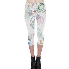 Flower Rainbow Circle Polka Leaf Sexy Capri Leggings