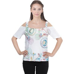 Flower Rainbow Circle Polka Leaf Sexy Cutout Shoulder Tee