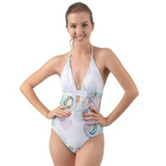 Flower Rainbow Circle Polka Leaf Sexy Halter Cut Out One Piece Swimsuit