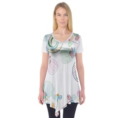 Flower Rainbow Circle Polka Leaf Sexy Short Sleeve Tunic