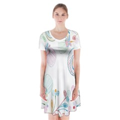 Flower Rainbow Circle Polka Leaf Sexy Short Sleeve V Neck Flare Dress