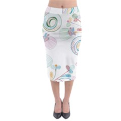 Flower Rainbow Circle Polka Leaf Sexy Midi Pencil Skirt