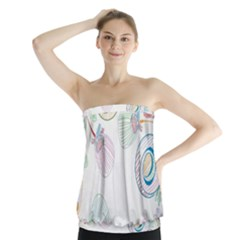 Flower Rainbow Circle Polka Leaf Sexy Strapless Top