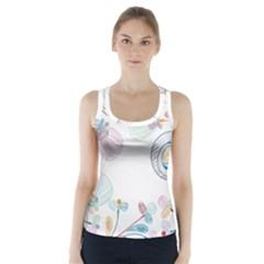 Flower Rainbow Circle Polka Leaf Sexy Racer Back Sports Top