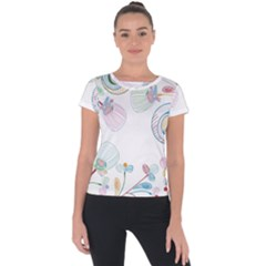 Flower Rainbow Circle Polka Leaf Sexy Short Sleeve Sports Top
