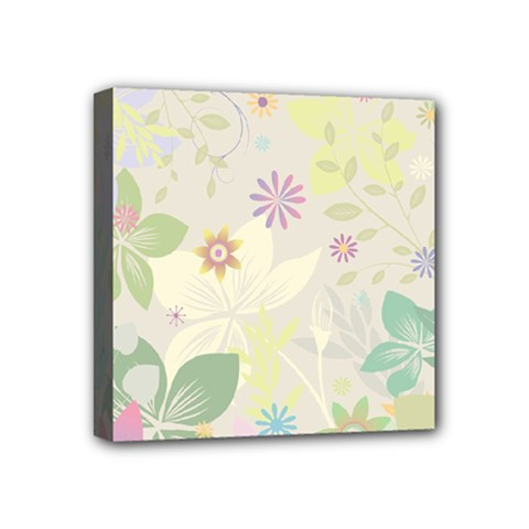 Flower Rainbow Star Floral Sexy Purple Green Yellow White Rose Mini Canvas 4  X 4