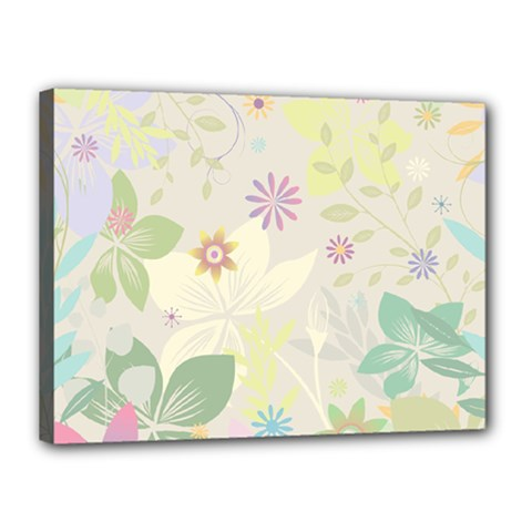 Flower Rainbow Star Floral Sexy Purple Green Yellow White Rose Canvas 16  X 12