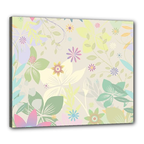 Flower Rainbow Star Floral Sexy Purple Green Yellow White Rose Canvas 24  X 20