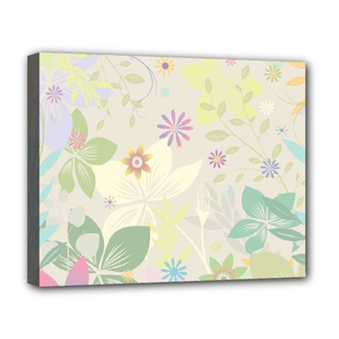 Flower Rainbow Star Floral Sexy Purple Green Yellow White Rose Deluxe Canvas 20  X 16