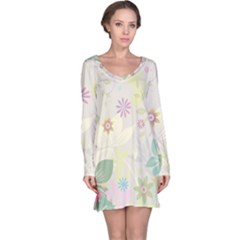 Flower Rainbow Star Floral Sexy Purple Green Yellow White Rose Long Sleeve Nightdress