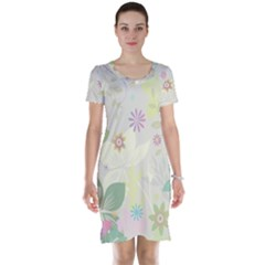 Flower Rainbow Star Floral Sexy Purple Green Yellow White Rose Short Sleeve Nightdress