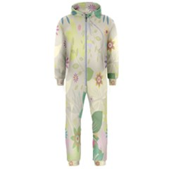 Flower Rainbow Star Floral Sexy Purple Green Yellow White Rose Hooded Jumpsuit (men)