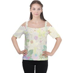 Flower Rainbow Star Floral Sexy Purple Green Yellow White Rose Cutout Shoulder Tee