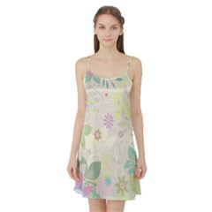 Flower Rainbow Star Floral Sexy Purple Green Yellow White Rose Satin Night Slip