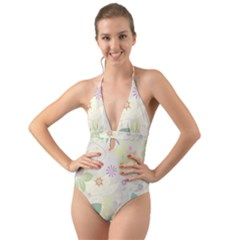 Flower Rainbow Star Floral Sexy Purple Green Yellow White Rose Halter Cut Out One Piece Swimsuit