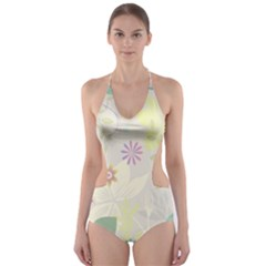Flower Rainbow Star Floral Sexy Purple Green Yellow White Rose Cut Out One Piece Swimsuit