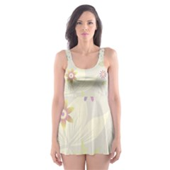 Flower Rainbow Star Floral Sexy Purple Green Yellow White Rose Skater Dress Swimsuit