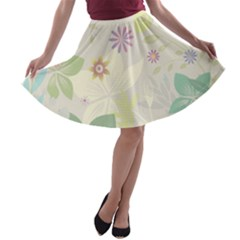 Flower Rainbow Star Floral Sexy Purple Green Yellow White Rose A Line Skater Skirt