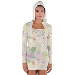 Flower Rainbow Star Floral Sexy Purple Green Yellow White Rose Long Sleeve Hooded T Shirt