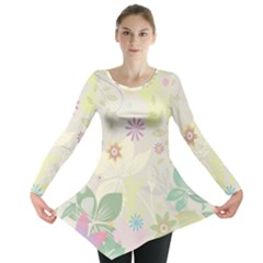 Flower Rainbow Star Floral Sexy Purple Green Yellow White Rose Long Sleeve Tunic