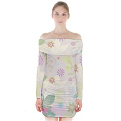 Flower Rainbow Star Floral Sexy Purple Green Yellow White Rose Long Sleeve Off Shoulder Dress