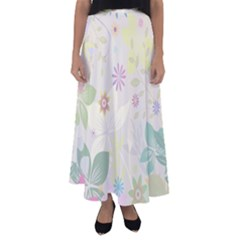 Flower Rainbow Star Floral Sexy Purple Green Yellow White Rose Flared Maxi Skirt
