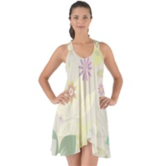 Flower Rainbow Star Floral Sexy Purple Green Yellow White Rose Show Some Back Chiffon Dress