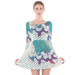 Flower Rose Purple Sunflower Lotus Long Sleeve Velvet Skater Dress