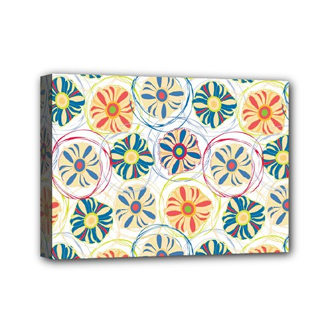 Flower Rainbow Fan Sunflower Circle Sexy Mini Canvas 7  X 5