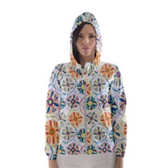 Flower Rainbow Fan Sunflower Circle Sexy Hooded Wind Breaker (women)
