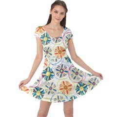 Flower Rainbow Fan Sunflower Circle Sexy Cap Sleeve Dress