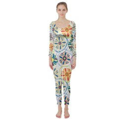 Flower Rainbow Fan Sunflower Circle Sexy Long Sleeve Catsuit