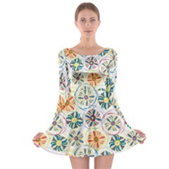Flower Rainbow Fan Sunflower Circle Sexy Long Sleeve Skater Dress